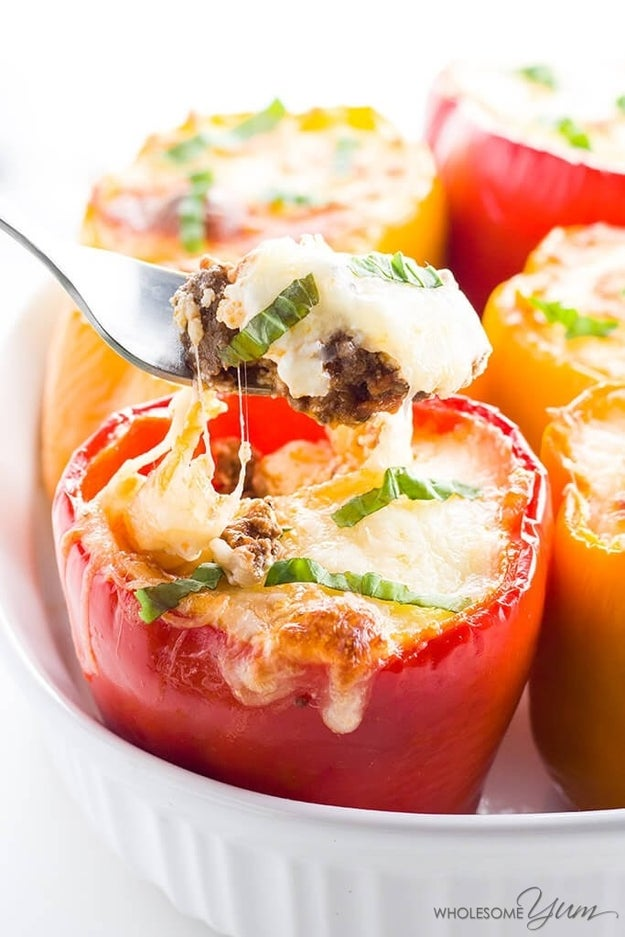 7-Ingredient Beef Lasagna Stuffed Peppers