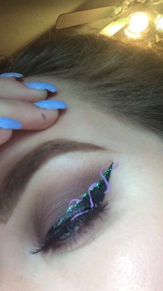 The aim of this graphic eyeliner look is to turn your eye into a magical unicorn horn: