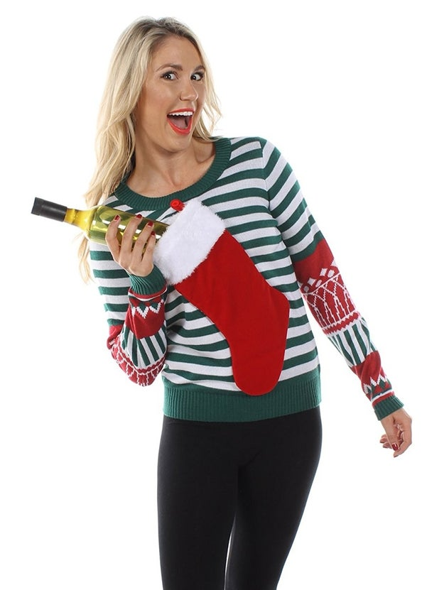 A sweater with a functional stocking pocket that lets you hold things near and dear to your heart.