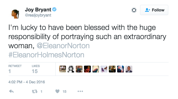 Actor Joy Bryant expressed her gratitude for the opportunity to play Eleanor Norton, who represented the real employees of Newsweek in 1970.