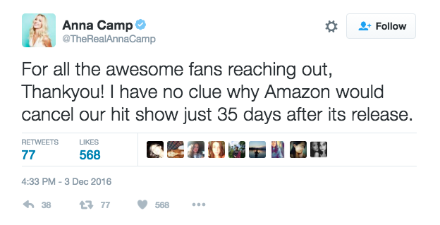"Star Anna Camp tweeted that she doesn't have a ""clue why Amazon would cancel [the] hit show."""