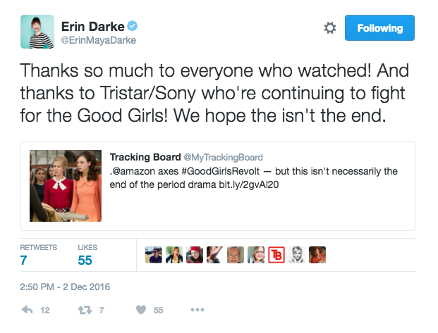 "Co-star Erin Darke said she hopes ""this isn't the end"" for Good Girls Revolt."