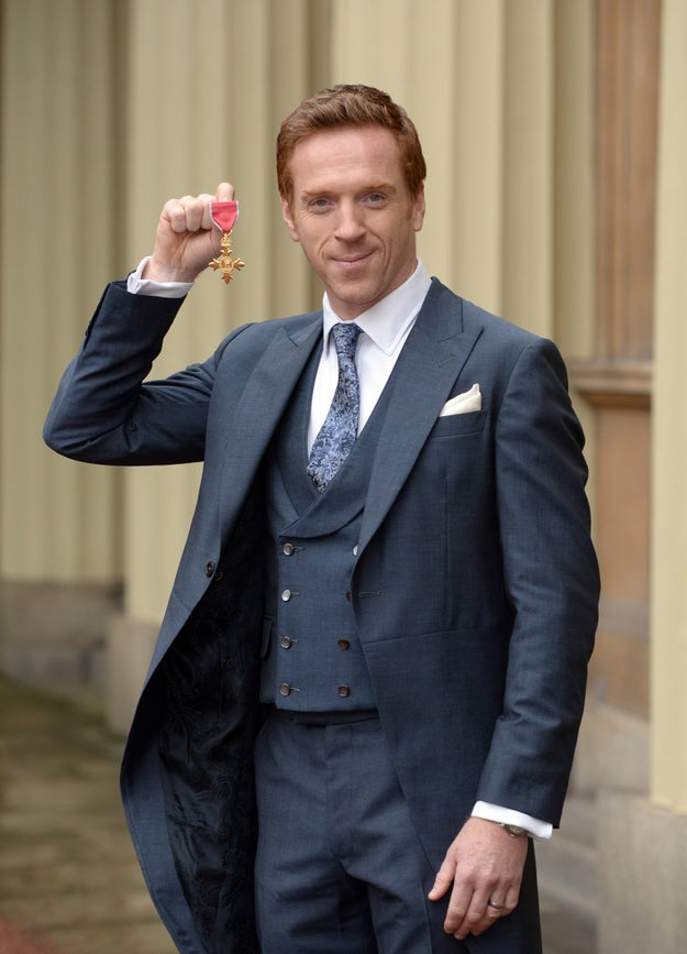 Look! Damian Lewis is so happy about his fancy OBE medal. Maybe you can hold it too.