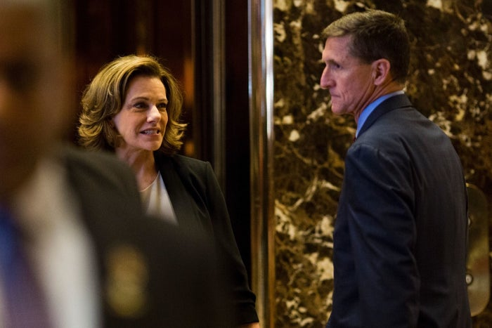 KT McFarland, left, with Michael Flynn at Trump Tower in December.