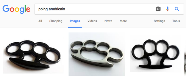 "Brass knuckles in France are called ""poing américain."""