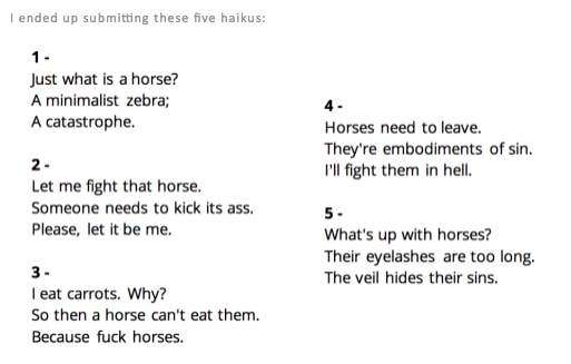 This Womans Hilarious Horse Haikus Were Selected For Her