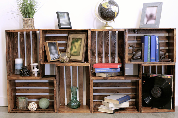 repurpose old wooden crates with this clever bookshelf diy rh buzzfeed com wood crate shelves wooden crate shelf ideas