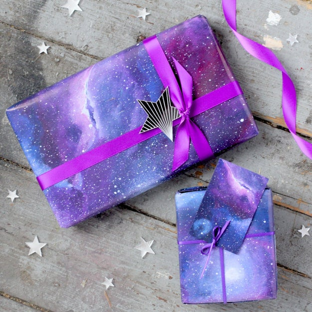 Galaxy print paper that proves your presents are out of this world.