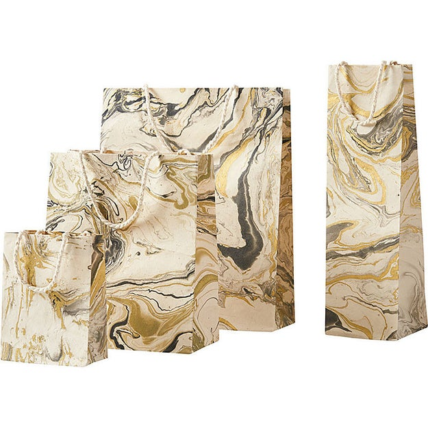 Gold marble bags that make any gift a little fancier.