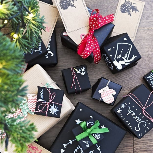 Chalkboard gift wrap you can personalize with illustrations, messages and more.