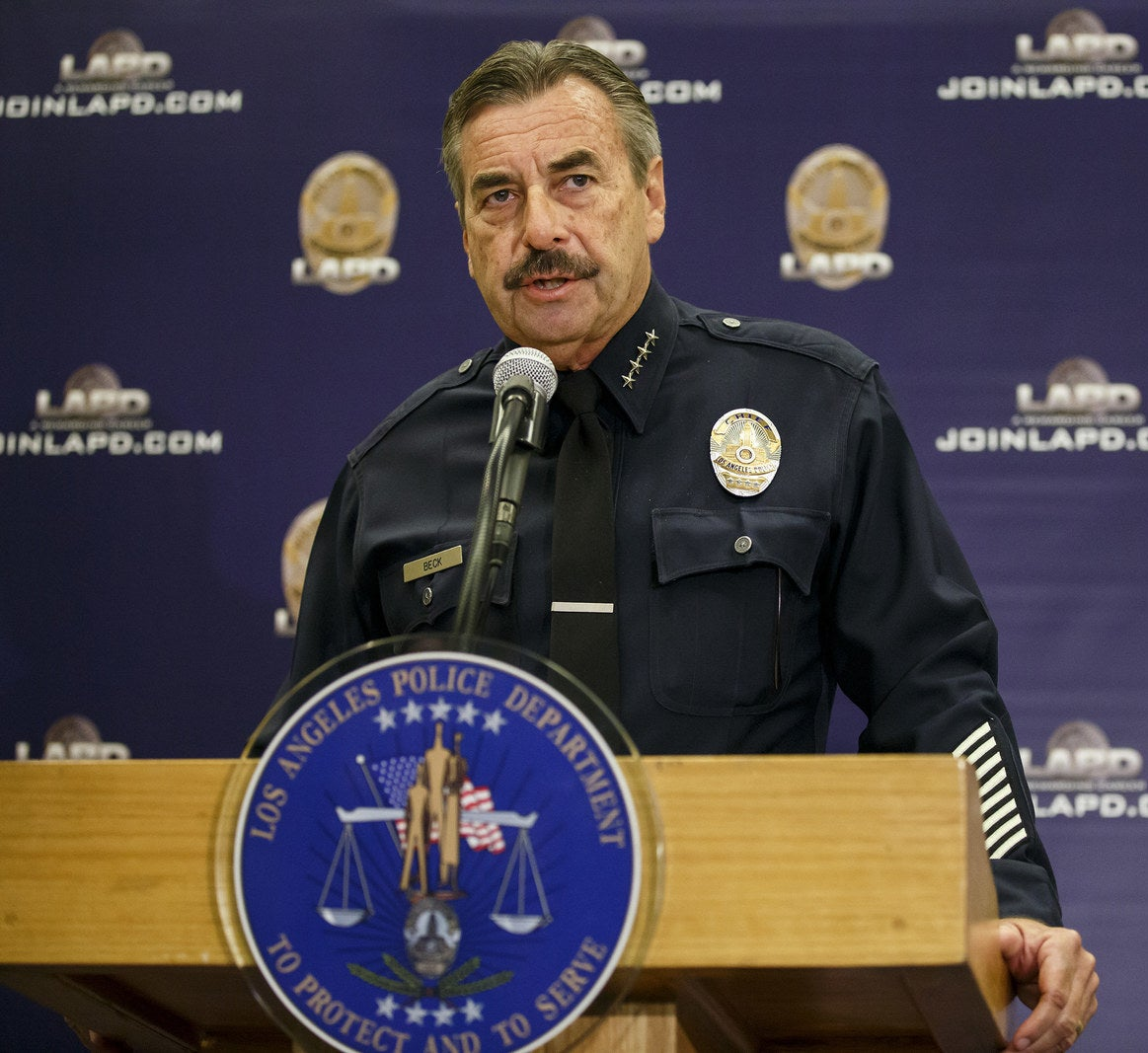 Chief Charlie Beck speaks during a press conference in Los Angeles on Oct. 3.