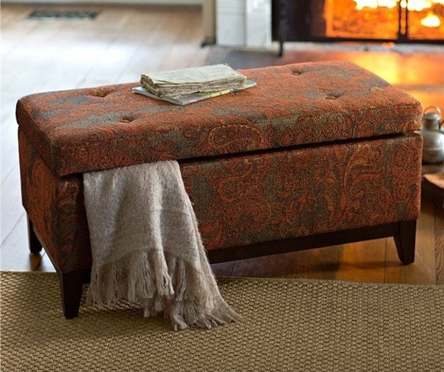 Tuck in extra blankets and pillows at the foot of your bed in this upholstered storage bench that'll also be your new fave spot for pulling on your shoes.