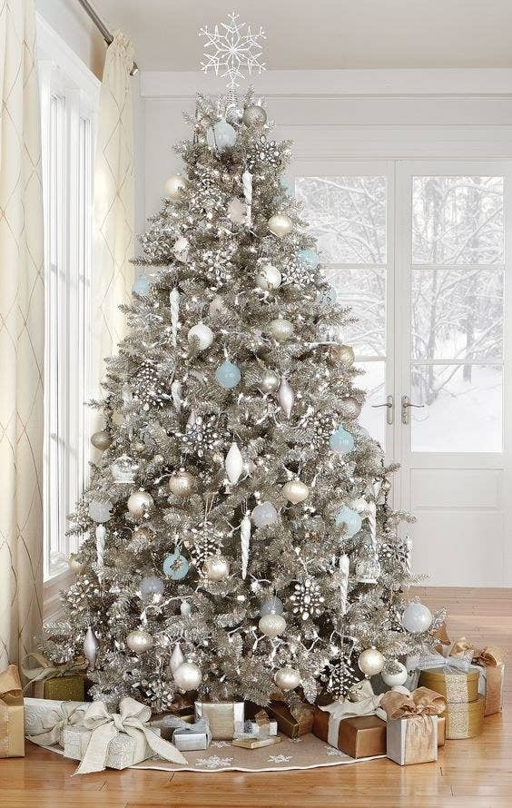Coastal Silver Christmas Tree With Silver, White, Aqua