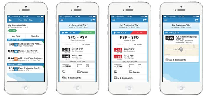 TripIt syncs all the flight/hotel/transport booking information from your email into one master itinerary list, so all your plans are in one, easy-to-access place. It's also available offline for when you're in remote, no-Wi-Fi places.
