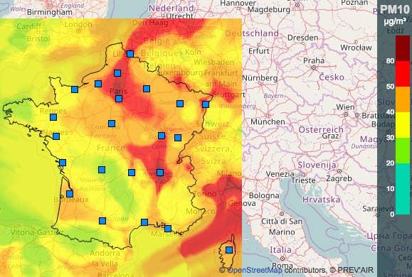 Taux de particules en suspension (PM10), en moyenne journalière, en France, le 7 décembre 2016. Source: Prev'air
