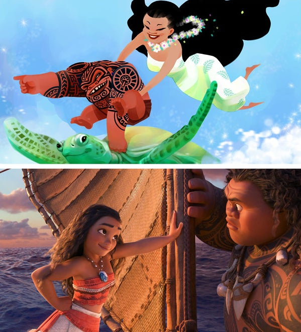 A very early Moana and Maui by Moana story and development artist Sue Nichols.