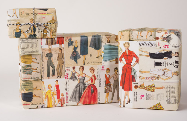 Très chic gift wrap that's covered in vintage dress patterns.