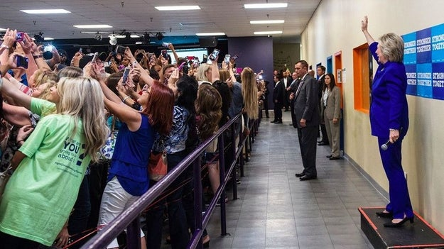 This shot of the crowd trying to get a photo with Hillary Clinton at a youth rally in Orlando in September.