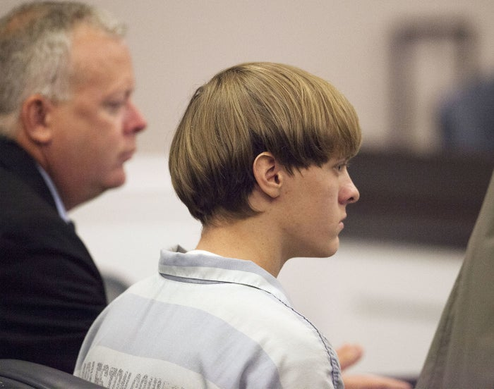 Dylann Roof appears at a court hearing in 2015.