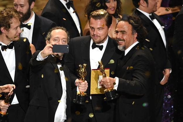 "The ""Leo finally got his Oscar"" selfie."