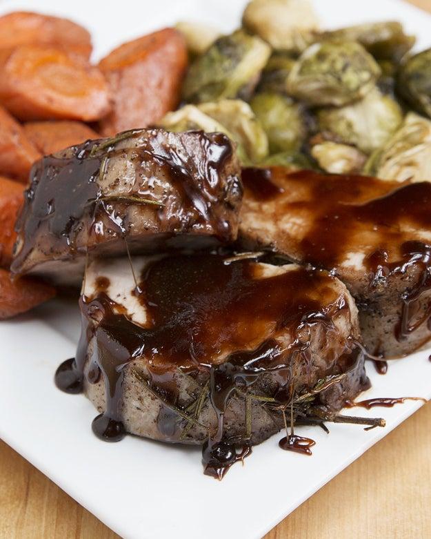Maple-Glazed Pork And Roasted Veggies