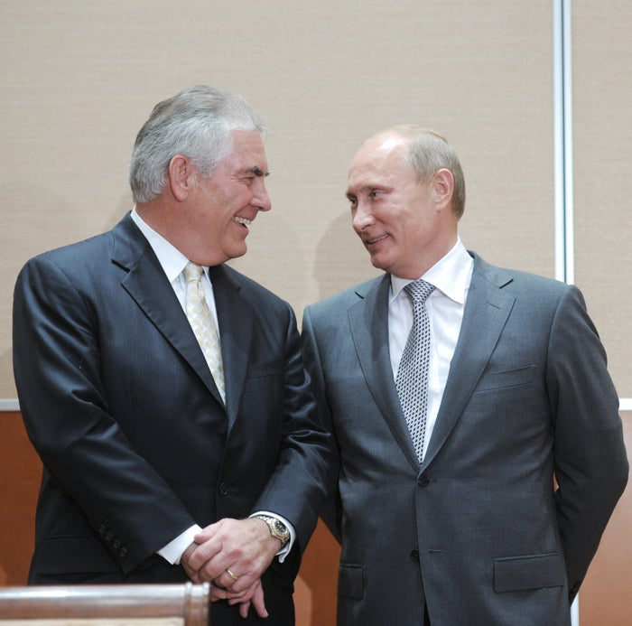 Putin speaking with Tillerson during the signing of a Rosneft–Exxon Mobil deal in Sochi on Aug. 30, 2011.