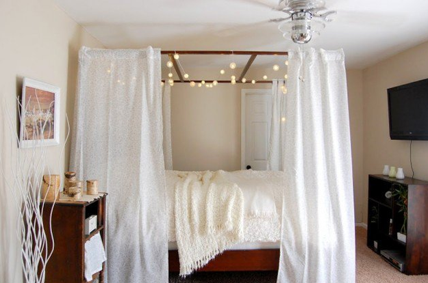 Add string lights across the top of your bed frame for a dreamy, fairytale feel.