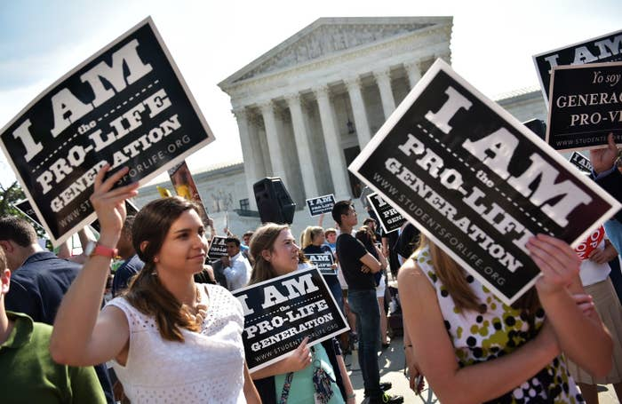 Anti-abortion activists in front of the Supreme Court in June.