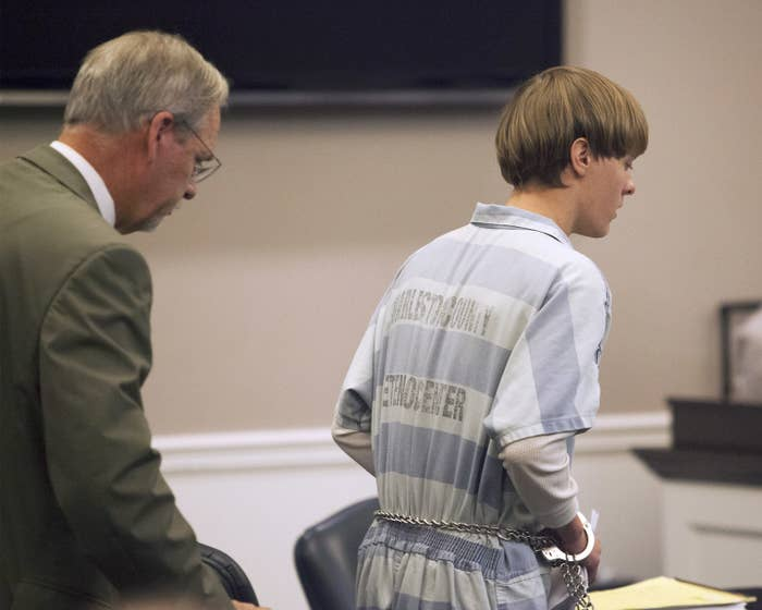 Dylann Roof enters a court hearing in 2015.