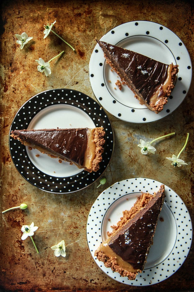 Pumpkin Caramel and Chocolate Ganache Tart with Potato Chip Crust
