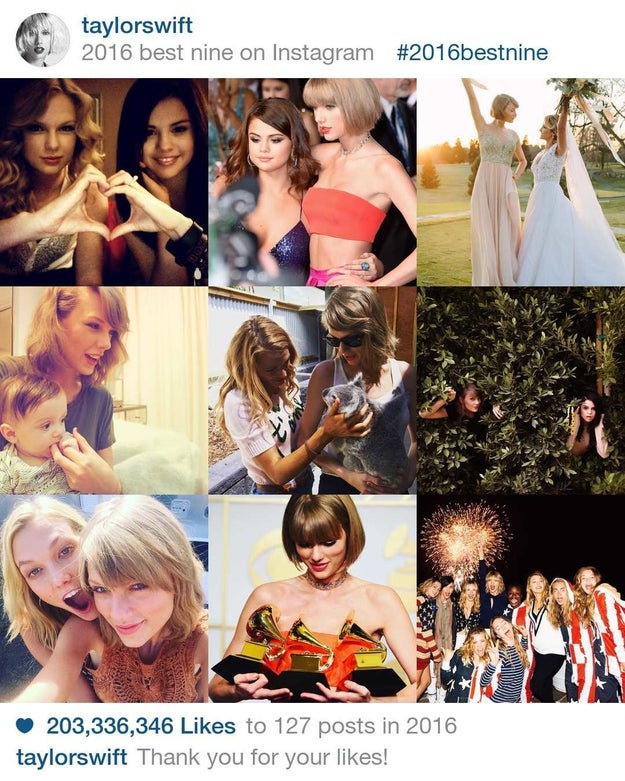 Taylor Swift got 203,346,336 million likes by sharing her most intimate moments in 2016.