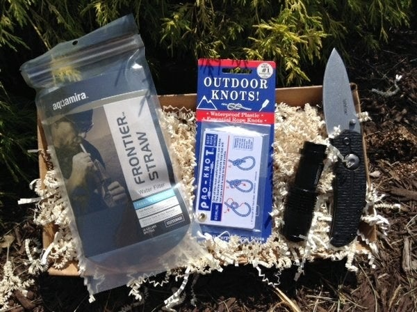 """It includes two to three, (""""or one very cool""""), items to help him prep for outdoor survival, a la Bear Grylls.Get a monthly box from Cratejoy for $25+."""