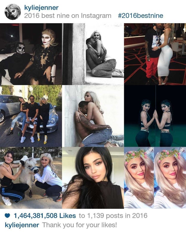 With 1,464,381,508 billion likes Kylie Jenner is easily the most liked celeb on Instagram in 2016.