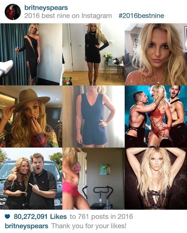 Britney Spears' fans saw the Glory and liked her photos 80,272,091 million times in 2016.