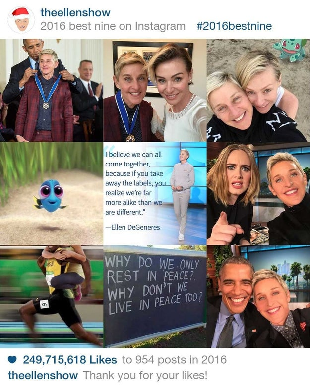 Two Instagram's with President Barack Obama and some tender family moments helped Ellen get 249,715,618 million likes.