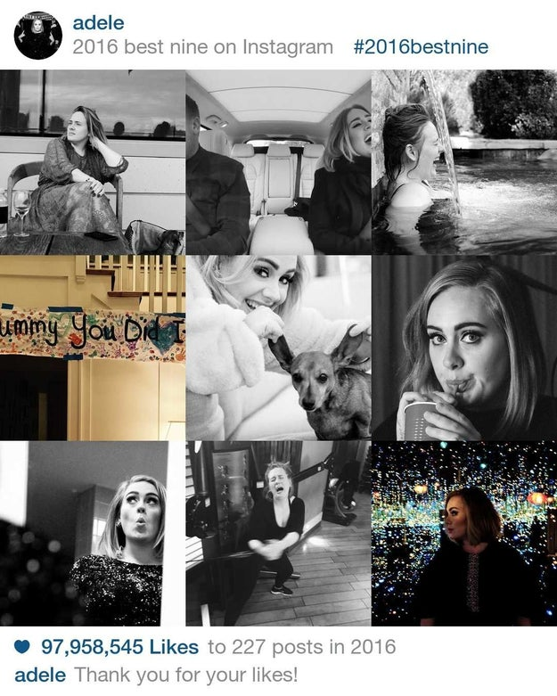 "97,958,545 million people said ""hello"" to Adele's Instagram's in 2016."