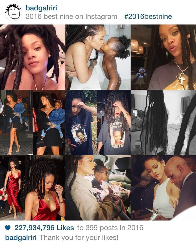 Rihanna gave no fucks (as usual) but still received 227,934,796 million likes in 2016.