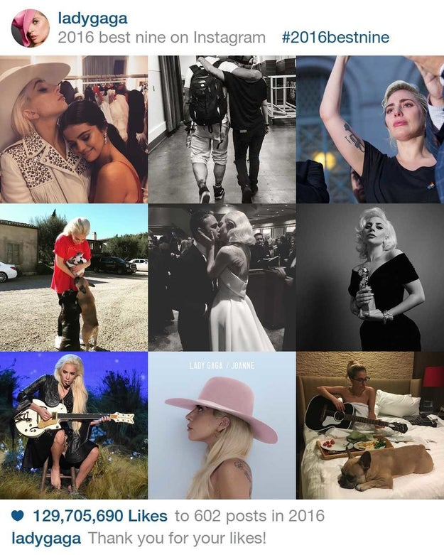 Lady Gaga gave her fans 129,705,690 million reasons to like her photos in 2016.
