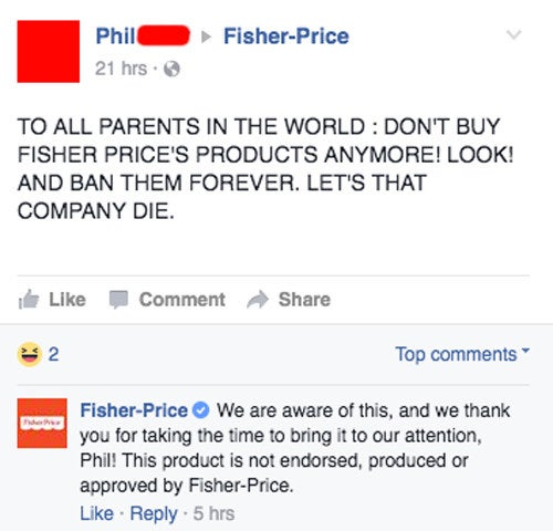 "The toymaker responded to many angry parents, telling them that the product ""is not endorsed, produced or approved by Fisher-Price."""