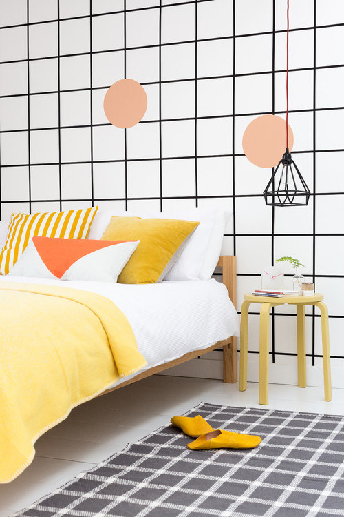 Make your room a space you'll actually want to wake up in by adding bright accent elements.