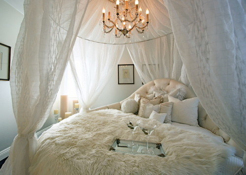 Why not build a ~romantic~ canopy over top your bed? If you don't want to buy one, you can make your own.