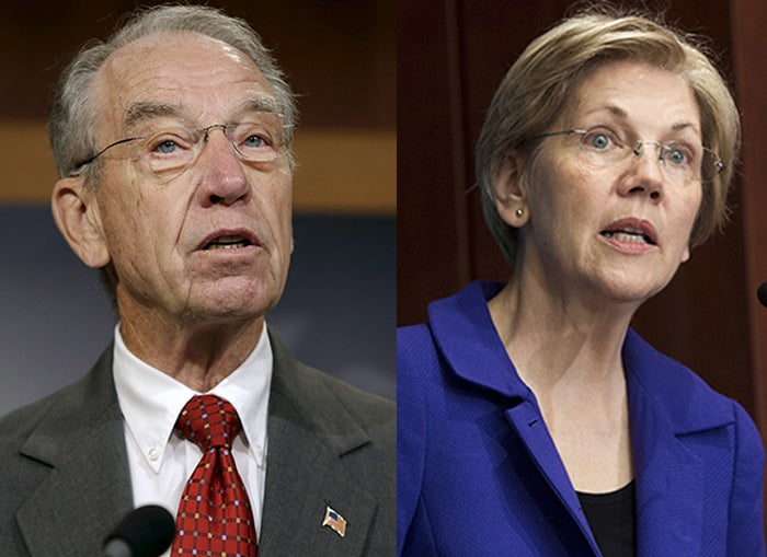 Sen. Charles Grassley of Iowa and Sen. Elizabeth Warren of Massachusetts