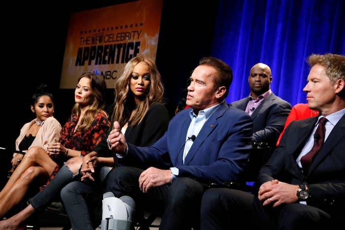 Host Arnold Schwarzenegger and cast members Nicole Polizzi, Brooke Burke-Charvet, Tyra Banks, Ricky Williams, and Patrick Knapp Schwarzenegger