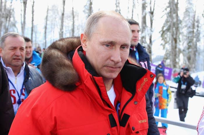 Russian president Vladimir Putin at the 2014 Sochi Winter Olympics.
