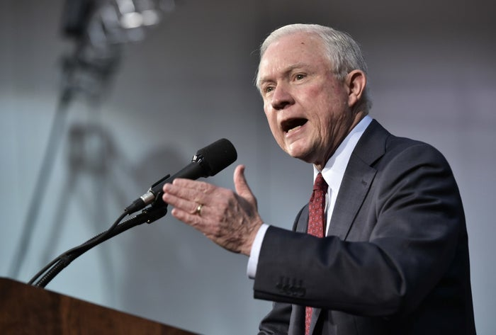 Sen. Jeff Sessions speaking at a rally for Donald Trump in October 2016.