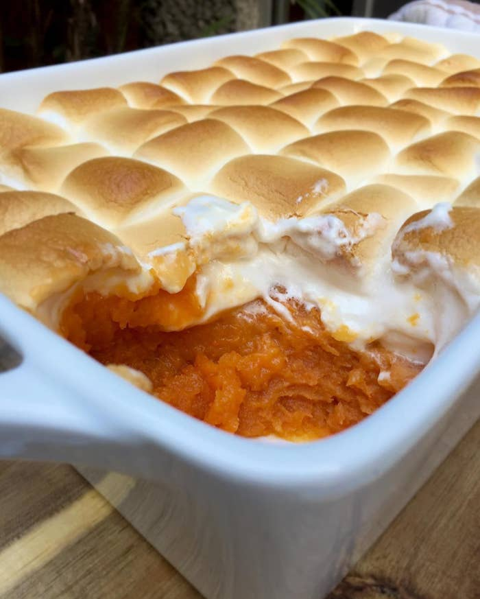 Not gonna lie, sweet potato casserole is delicious, but the concept of combining any vegetable with a melted candy is just very weird.