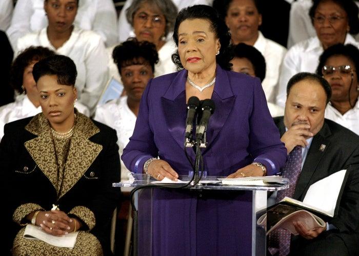 Coretta Scott King speaking at the 36th annual Martin Luther King Jr. commemorative service in Atlanta in 2004.
