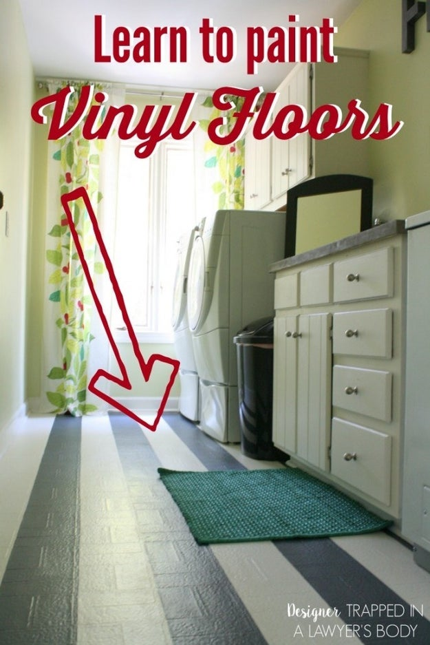 Paint your ugly vinyl floors to get rid of the eyesore without ripping up the floor.