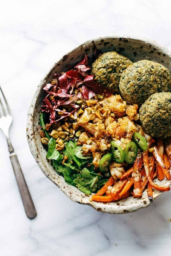 To make a vegetarian meal more filling, add a plant-based protein bomb like falafel. Recipe here.