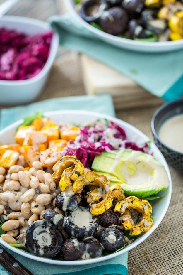 Wild Rice, Squash, and Mushroom Bowl